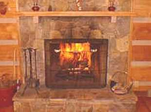 Wood burning fireplace, wood included, Secluded Log Cabin Rentals, Boone, NC, Blowing Rock, NC